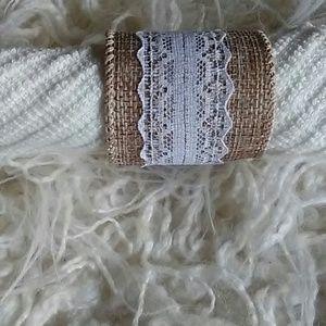 Handmade burlap napkin rings set of 4